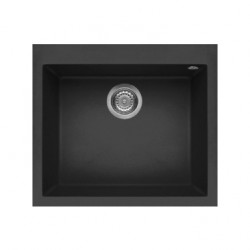 Elleci Quadra Standard 105 Ghisa花崗岩石黑色廚房枱上鋅盆