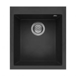 Elleci Quadra Standard 100 Ghisa花崗岩石黑色廚房枱上鋅盆