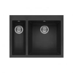 Elleci Quadra Standard 150 Ghisa花崗岩石黑色廚房枱上鋅盆